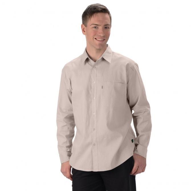 men's hemp organic cotton lightweight long sleeve dress shirt. tone on tone buttons single breast pocket Top stitching throughout