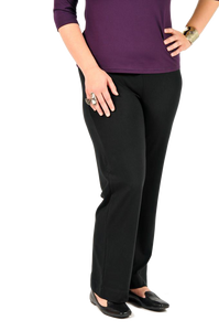 Organic bamboo jersey dress pants with a snug waist line and full length straight leg in black