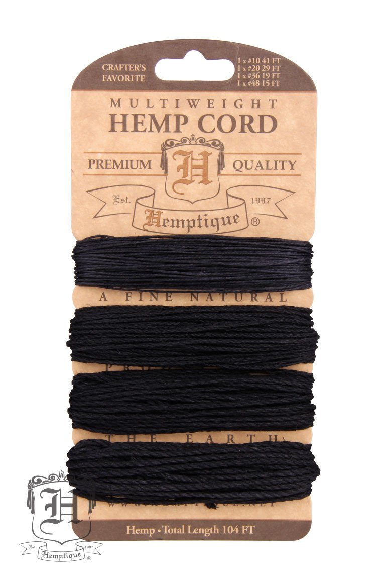 Hemptique Hemp Cord Card Multiweight  #10/#20/#36/#48 ⌀ .5mm/1mm/1.8mm