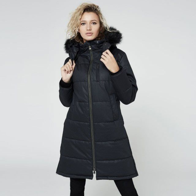 A long vegan puffer jacket with full zipper and fuzz lined hood