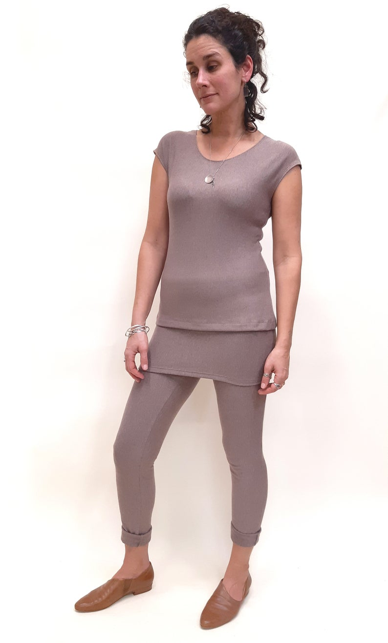 soft bamboo french terry leggings with a 30 inch inseam and an extra high waist in a soft dusty rose colour
