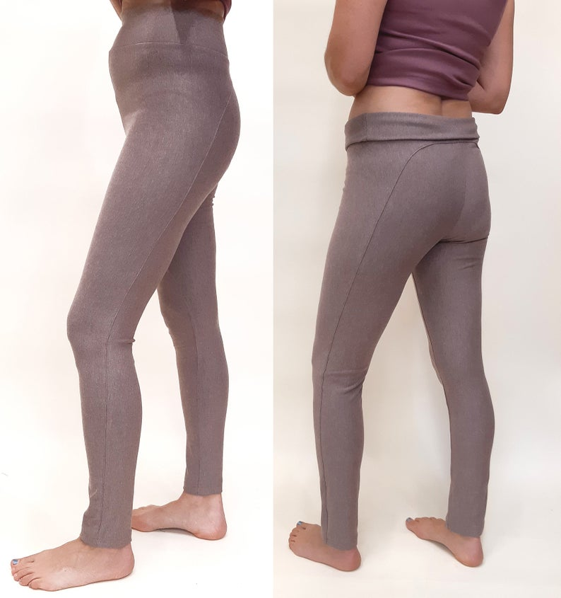 bamboo terry leggings with an extra high waist that can be rolled or worn all the way up