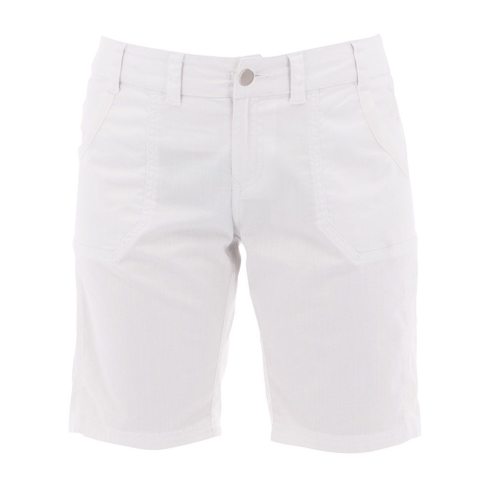 White Shorts with front button and 2 functional pockets.