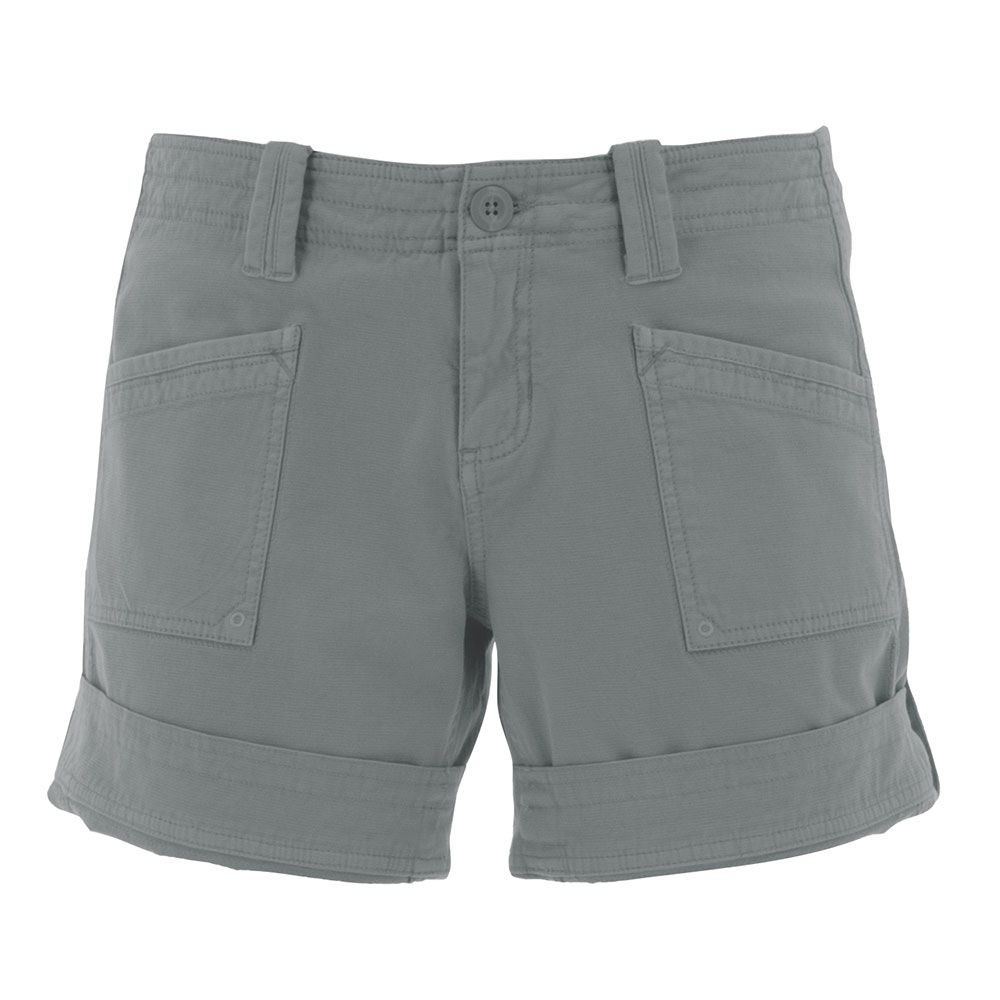 cargo mid rise shorts with a zipper and button closure, adjustable roll up legs (5.5 inch to 7.5 inch) and two large side pockets in an olive green