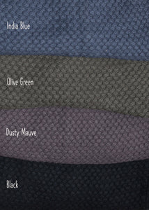 Depicting the poncho colours of India Blue, Olive Green, Dusty Mauve and Black