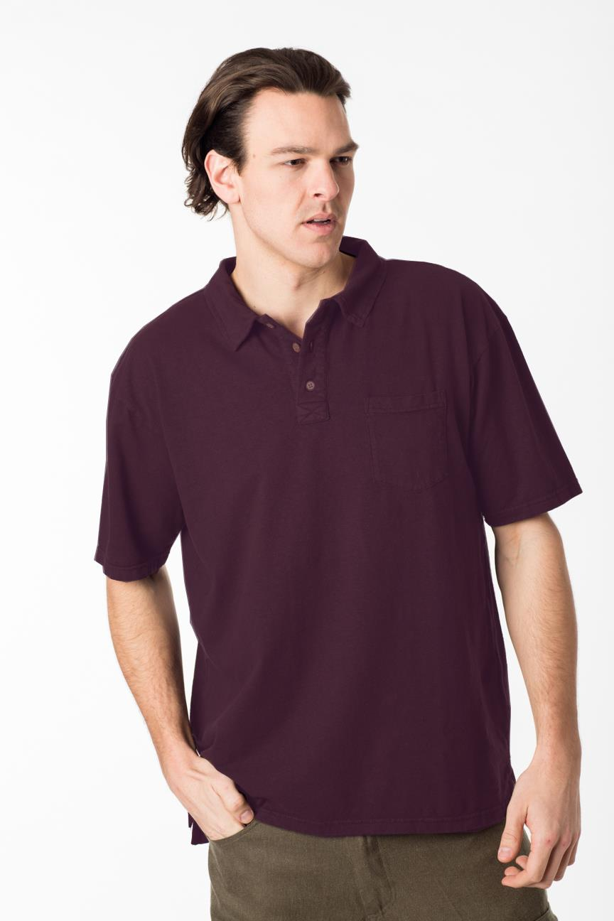 hemp and organic cotton mens golf shirt with a three button closure at the neck line and a folded collar with elbow length sleeves in a eggplant purple