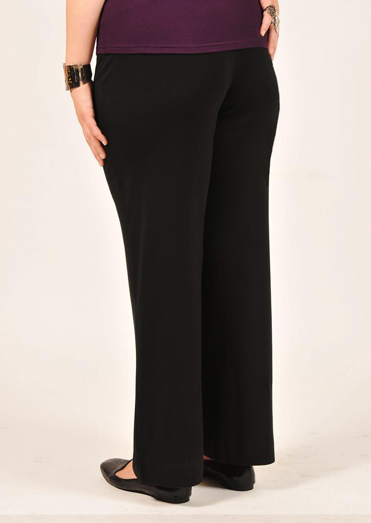 Full length bamboo jersey dress pants with snug waist and straight legs in black