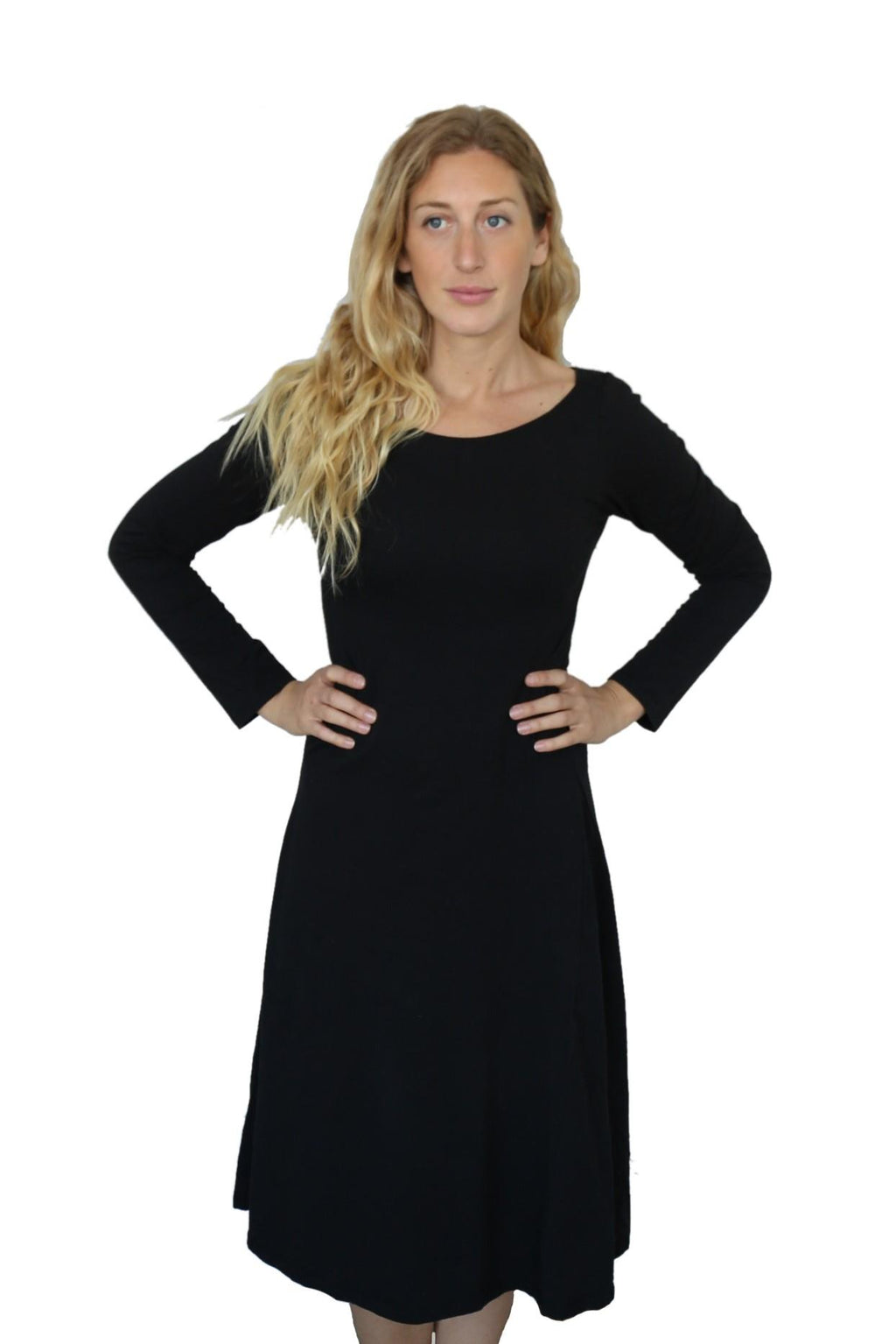 long sleeve hemp and organic cotton dress with a scoop neckline, fitted body and flowy skirt from the hips to just past knee length in black