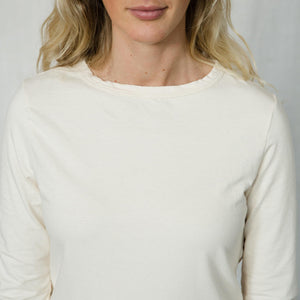 hemp and organic cotton tunic with a boat neck line in a natural white