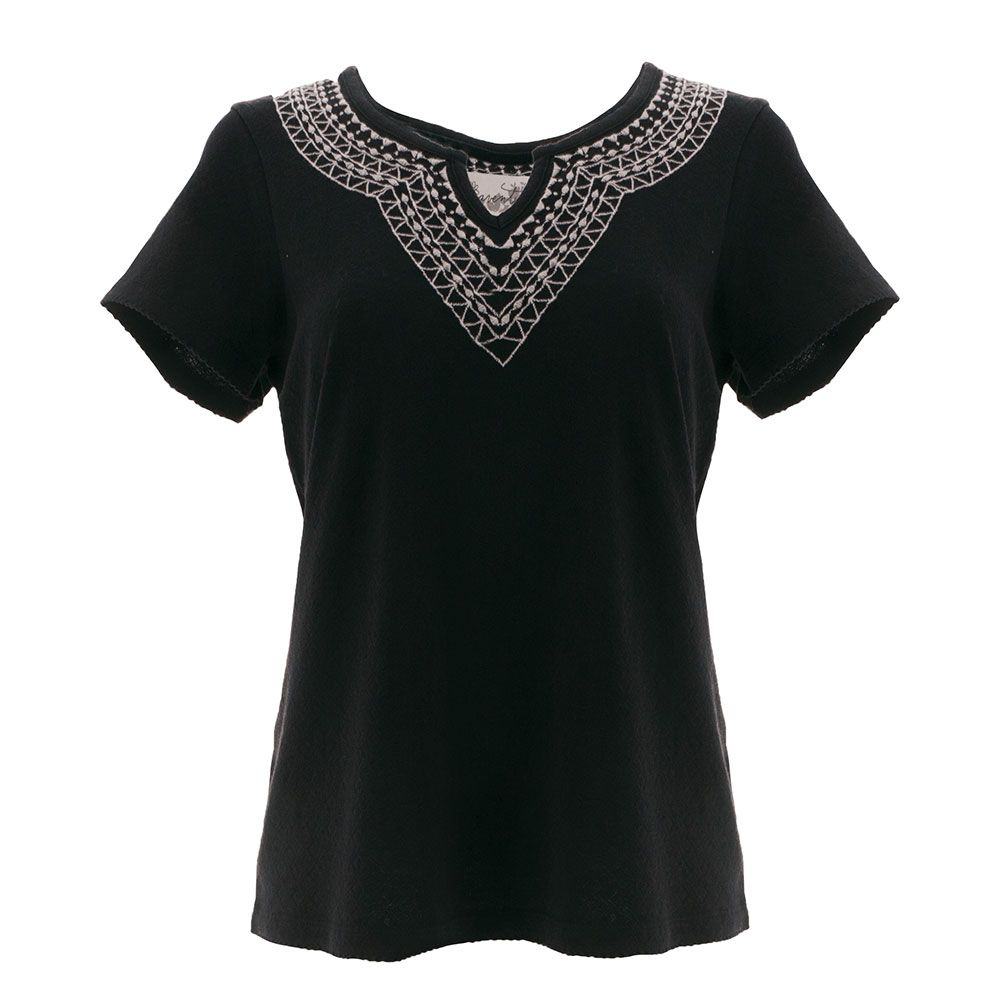 black tee shirt with embroidery stitching at the top in triangular patterns