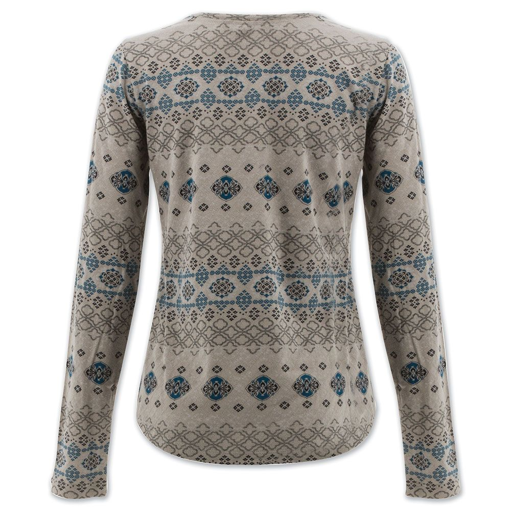 blue bold pattern on a grey long sleeve shirt with three buttons on the neck line