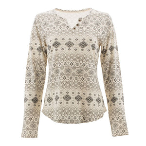decorative pattern cotton and jersey long sleeve shirt with three buttons on the neck line