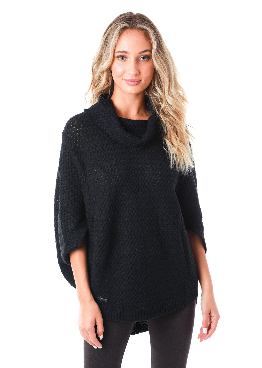 Oversized knit poncho with large mock neck and oversized 3/4 length sleeves