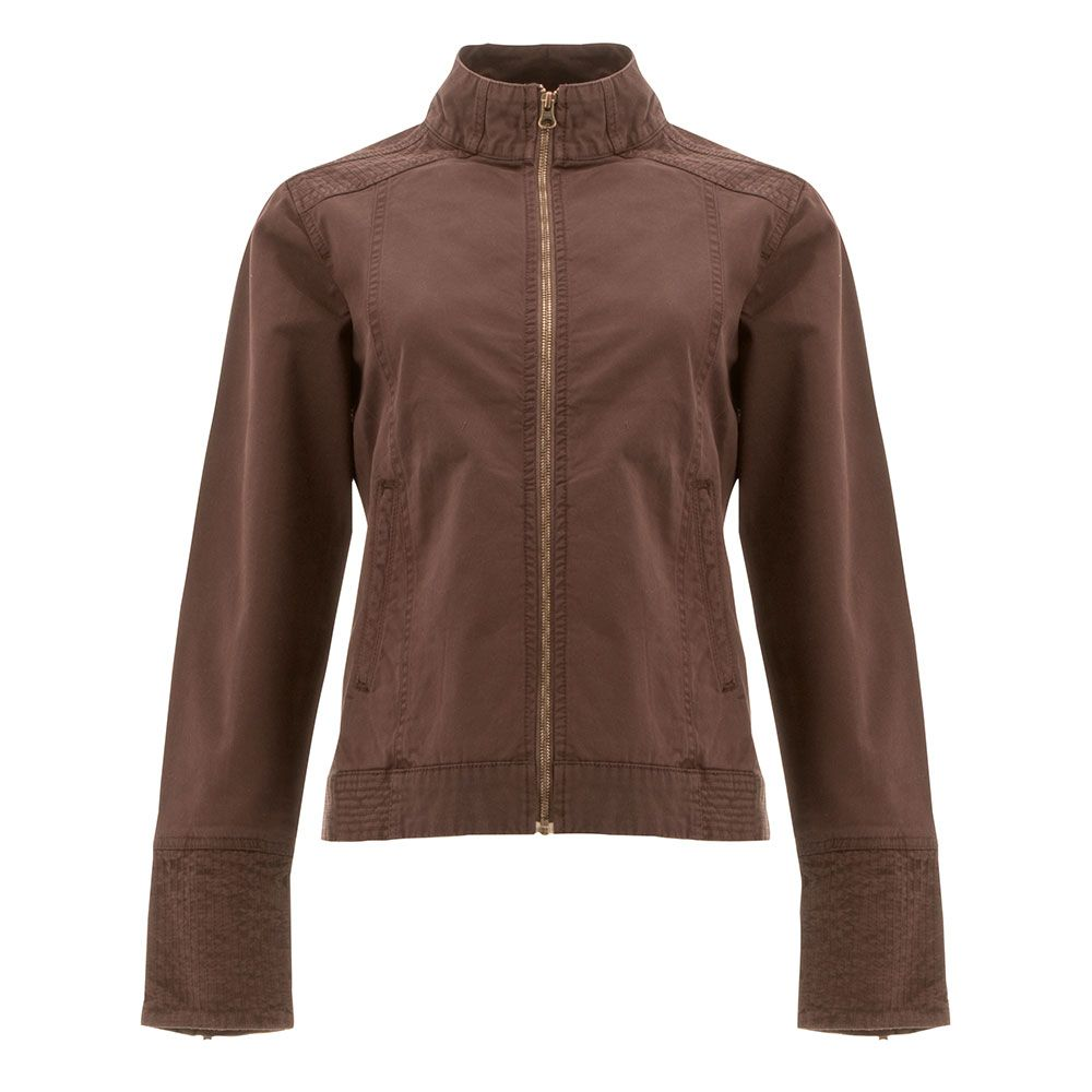 chocolate brown military style jacket with a full zip closure and two vertical side pockets and a partial turtle neck