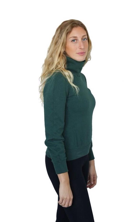 hemp and cotton fleece mock turtle neck with long sleeves in a forest green