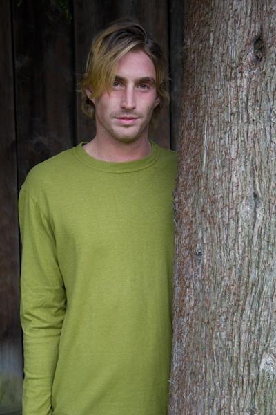 mens long sleeve hemp and cotton shirt with round neck in a lime green colour