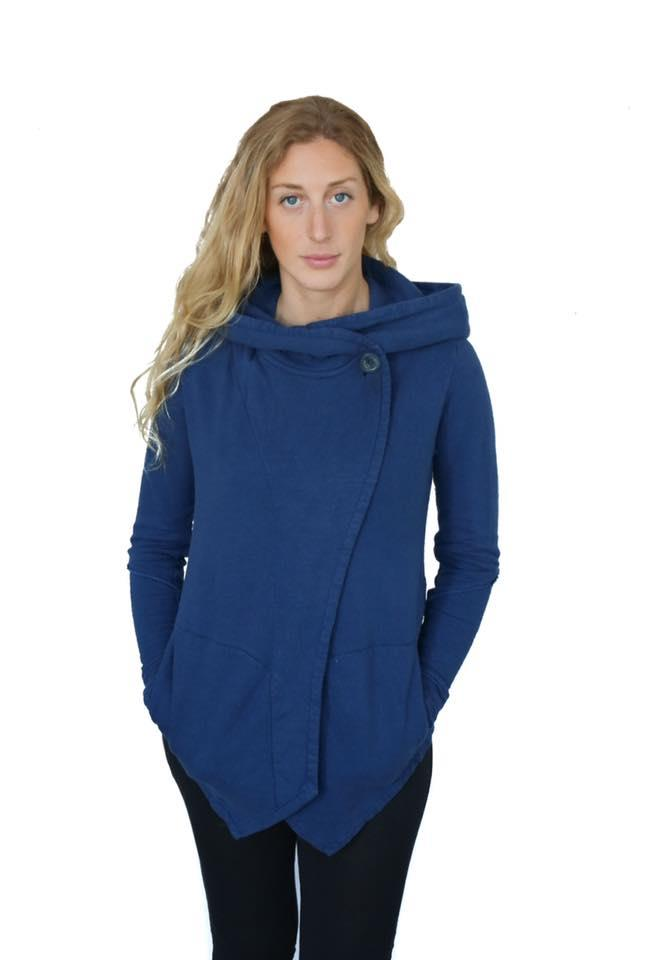 loose fitted hooded sweater with long sleeves and a cross over front panel with button closure by the neck and pointed panel hem