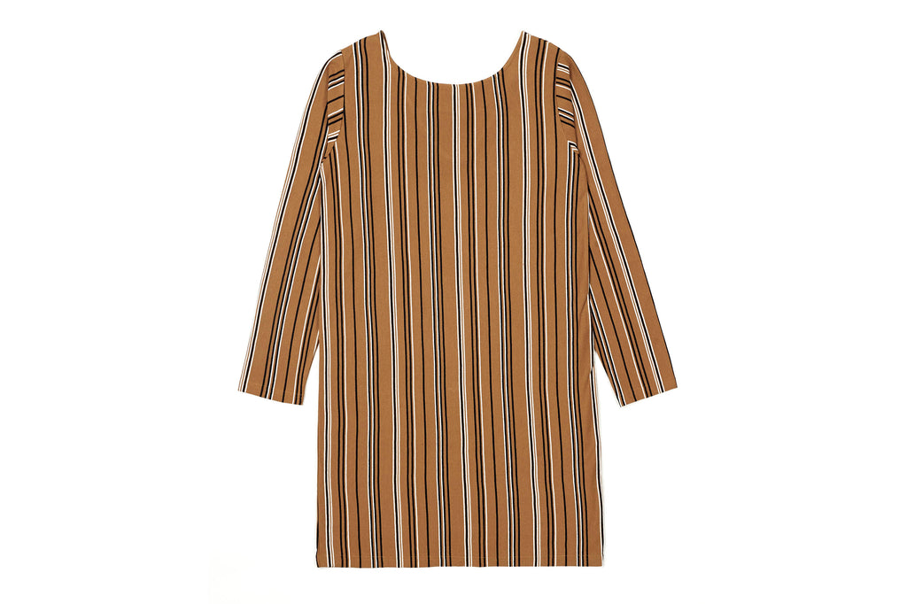 Vertically striped black with white cotton dress, Material hangs to the knee, back has a cut-out framed V at the top back collar.