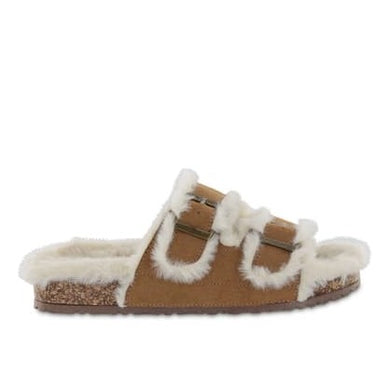 Mia Rozy Faux Fur Dual Buckle Slide