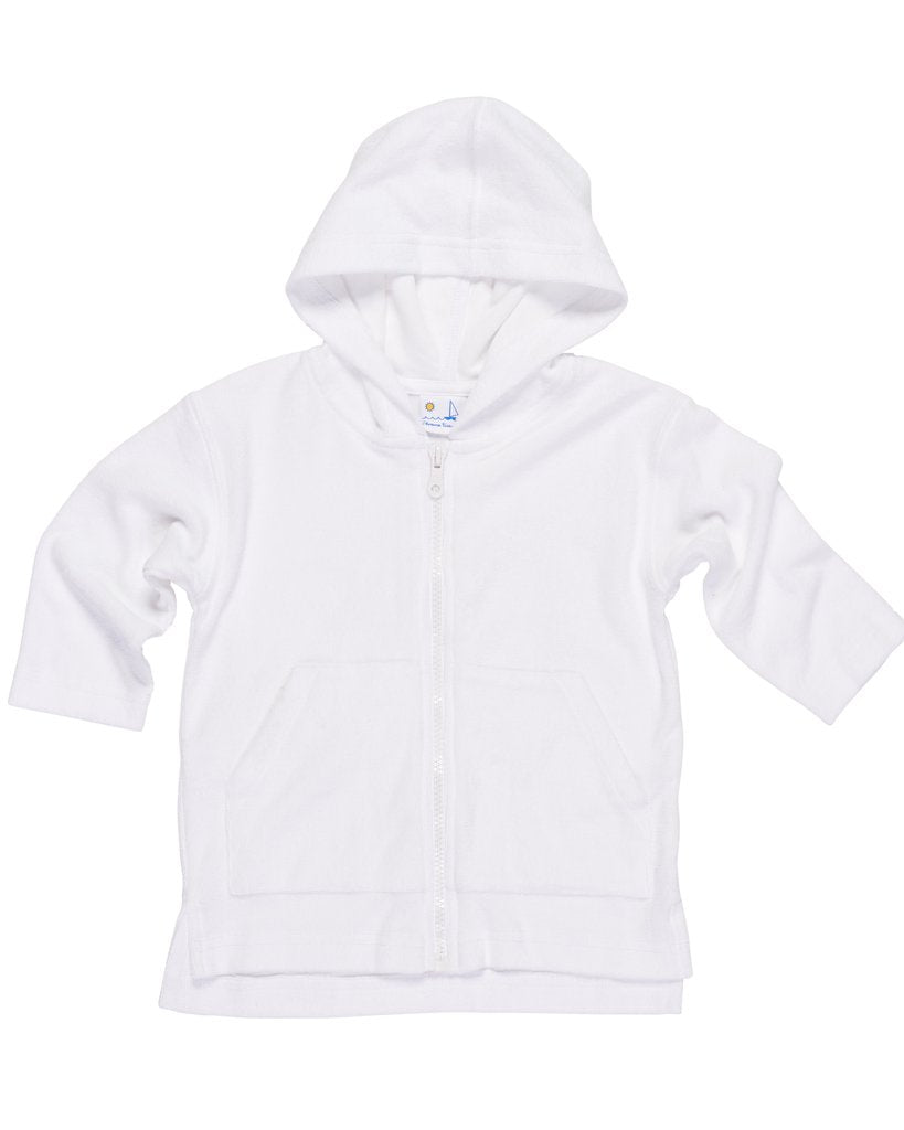Florence Eiseman White Knitted Terry Long Sleeve Zip Hoodie Coverup