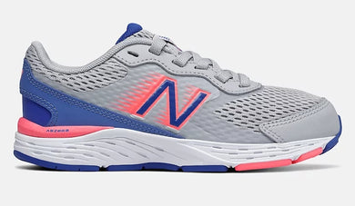 New Balance 680V6 Bungee Lace/ Light Aluminum with Faded Cobalt & Guava