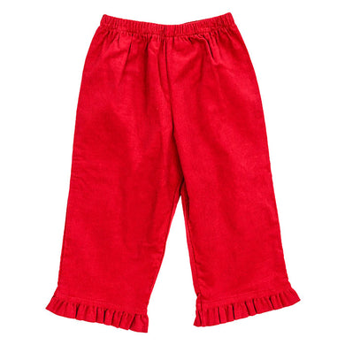 Bailey Boys Red Corduroy Elastic Waist Pant with Ruffle