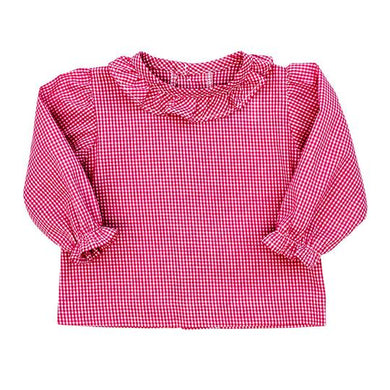 Bailey Boys Girls Button Back Shirt with Ruffle- Check