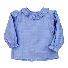 Load image into Gallery viewer, Girls Button Back Shirt with Ruffle- Check