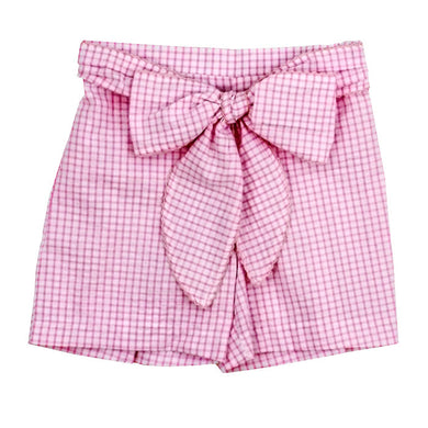 Windowpane Seersucker Short with Bow - Sikes Children's Shoe Store