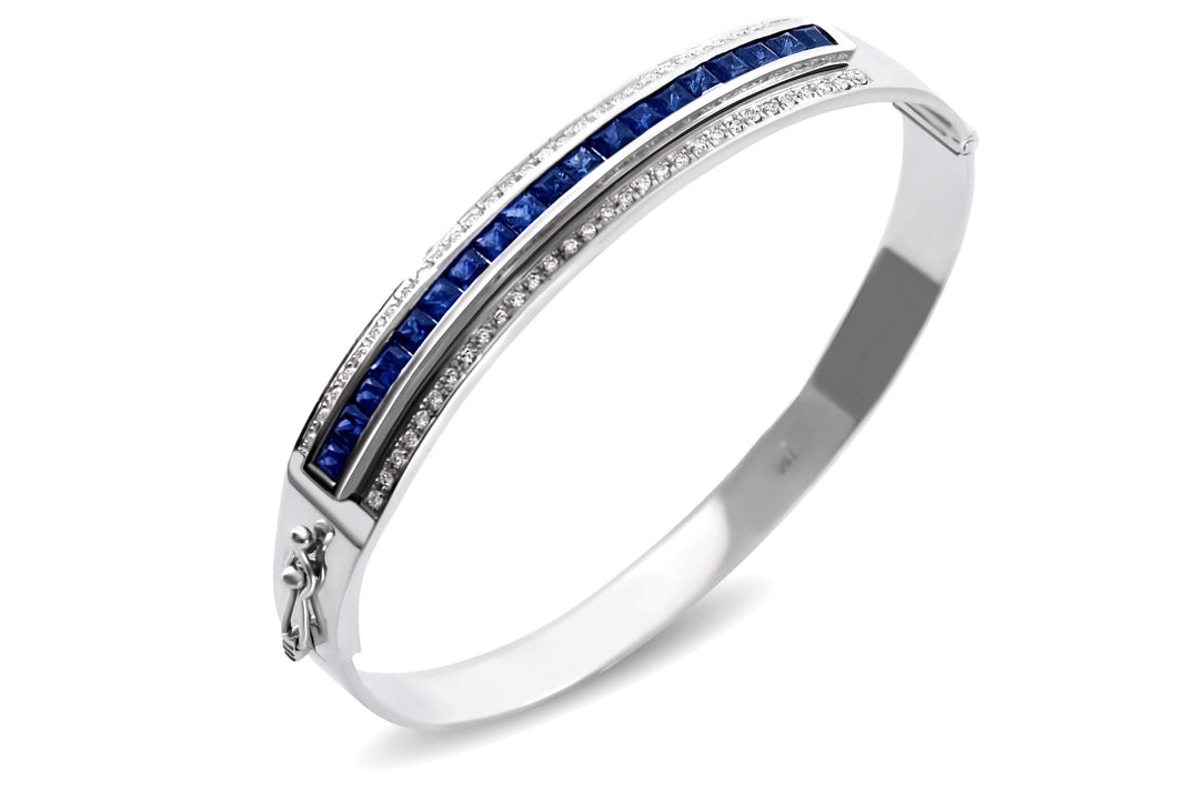 Journey Bangle - Your Grace - White Gold - Select Sapphire, Ruby or Tsavorite Insert
