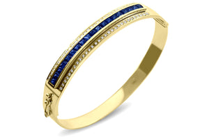 Journey Bangle - Your Grace  - Yellow Gold - Select Sapphire, Ruby or Tsavorite Insert