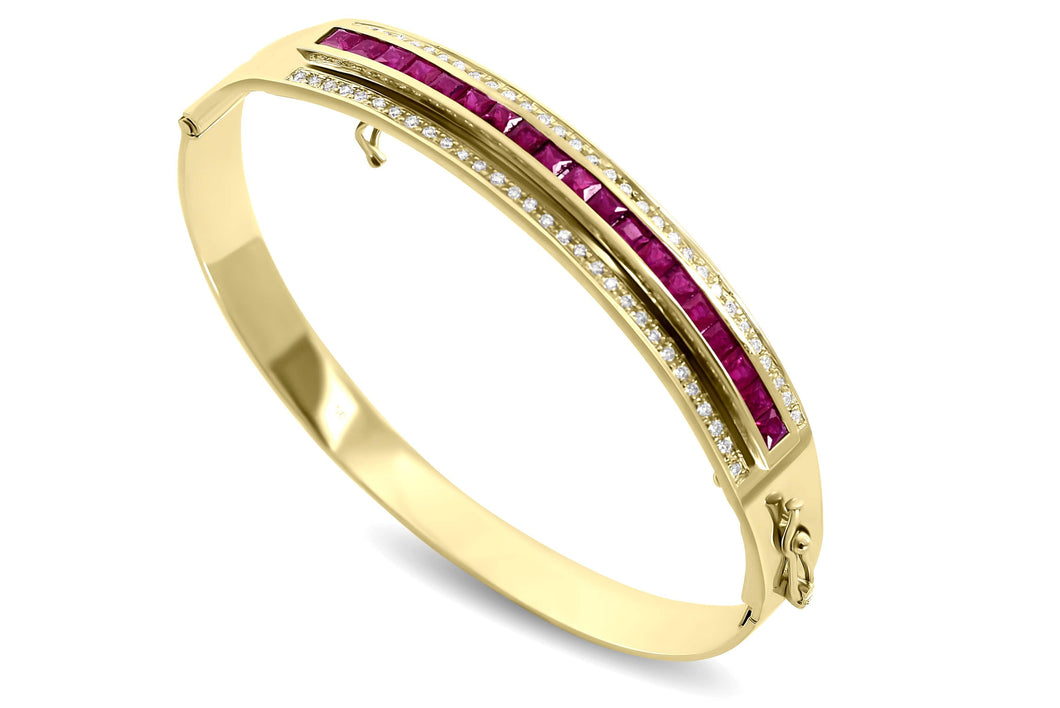 Journey Bangle - The Three Graces - Yellow Gold with Sapphire, Ruby & Tsavorite Inserts