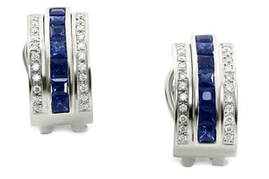 Journey Earrings - The Three Graces - White Gold with Sapphire, Ruby & Tsavorite Inserts