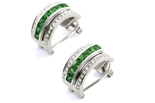 Journey Earrings - The Three Graces - Platinum with Sapphire, Ruby & Tsavorite Inserts
