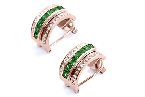 Journey Earrings - The Three Graces - Rose Gold with Sapphire, Ruby & Tsavorite Inserts