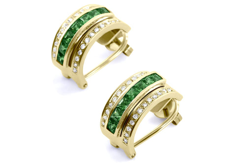 Journey Earrings - The Three Graces - Yellow Gold with Sapphire, Ruby & Tsavorite Inserts