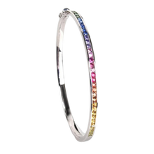 将图片加载到图库查看器,Kaleidoscope Rainbow Sapphire 18 Carat Gold Bangle - Brilliant