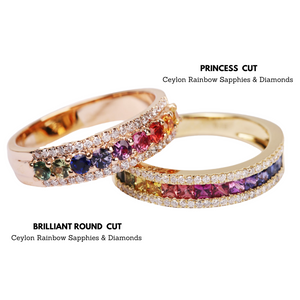 Kaleidoscope Diamond and Rainbow Sapphire 18 karat Gold Eternity Ring
