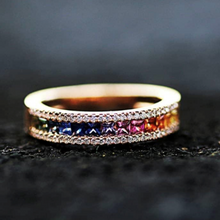 Load image into Gallery viewer, Kaleidoscope Diamond and Rainbow Sapphire 18 karat Gold Eternity Ring