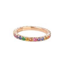 Load image into Gallery viewer, Kaleidoscope Rainbow Sapphire 18 Carat Gold Eternity Ring