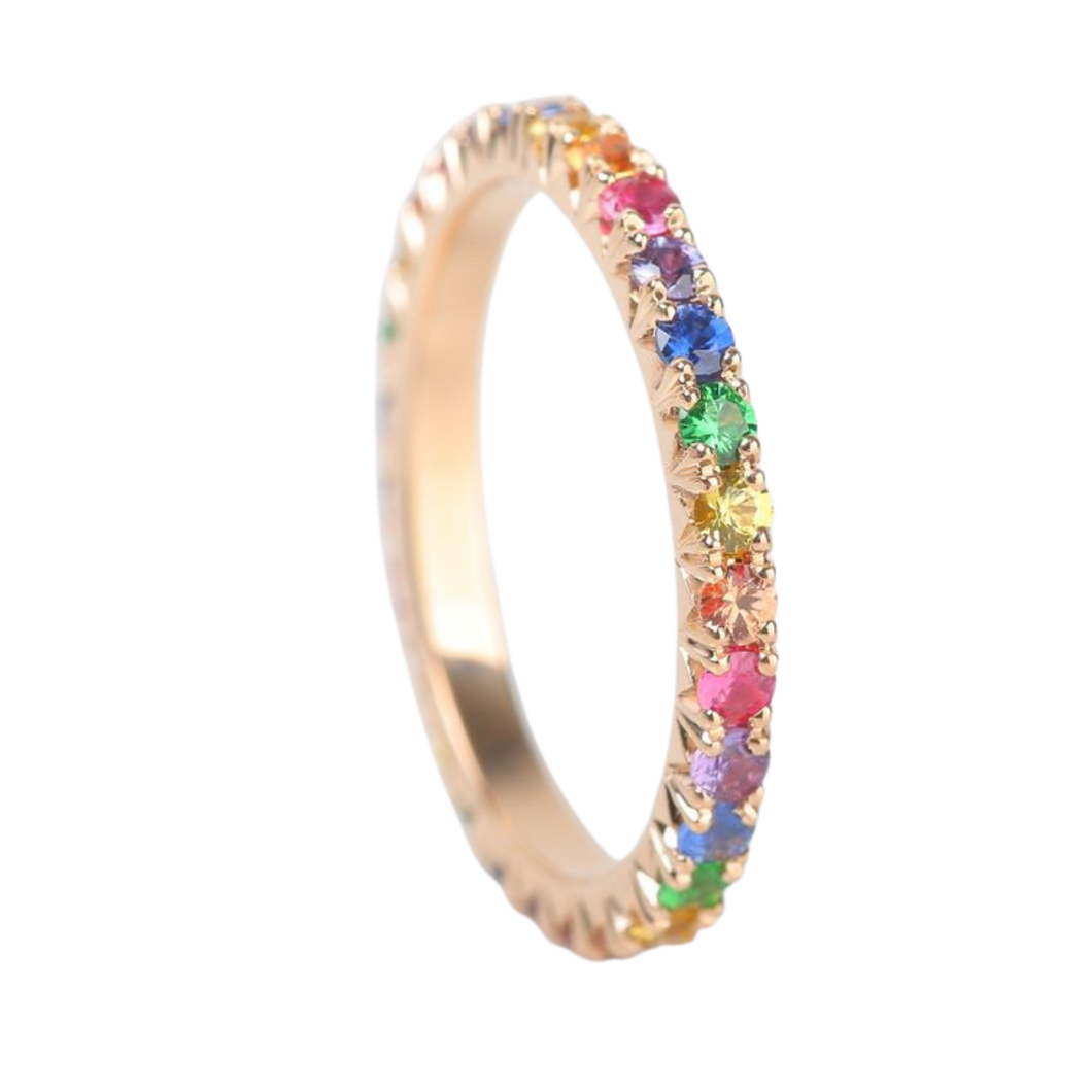 Kaleidoscope Rainbow Sapphire 18 Carat Gold Eternity Ring