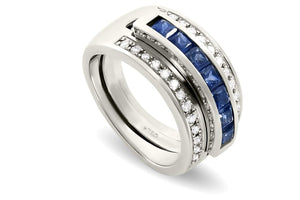Journey Ring - The Three Graces - White Gold with Sapphire, Ruby &  Tsavorite Inserts