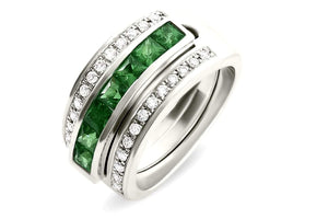 Journey Ring - The Three Graces - Platinum with Sapphire, Ruby &  Tsavorite Inserts