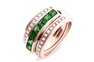 Journey Ring - The Three Graces - Rose Gold with Sapphire, Ruby &  Tsavorite Inserts