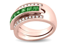 Load image into Gallery viewer, Journey Ring - The Three Graces - Rose Gold with Sapphire, Ruby &  Tsavorite Inserts