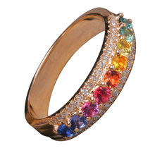 Load image into Gallery viewer, Kaleidoscope Diamond and Rainbow Sapphire Gold Eternity Ring