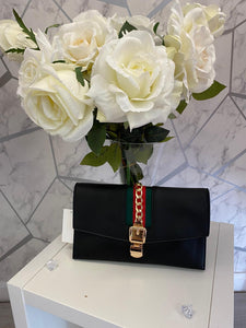 Black designer inspired clutch bag