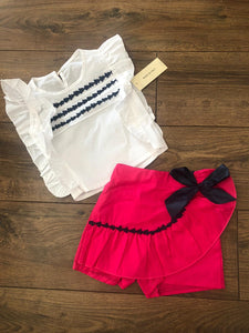 Girls frill bow short set Italian made