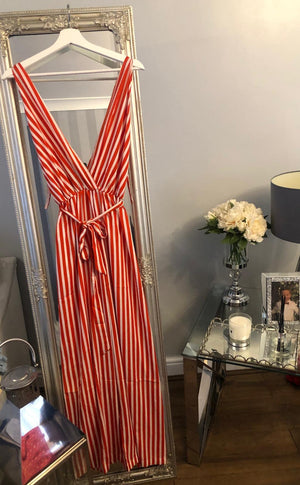 Striped Jumpsuit - Red, Black or Purple