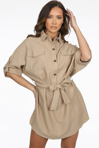 Tan Tunic Button Dress
